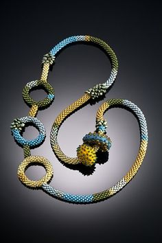 ~~seed beaded rope with felted focal beads by Shelley Jones~~