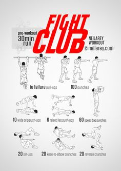 Instructions : Complete a 30 minute run before the workout (optional but recommended). For the workout: repeat each move with no rest in between until the set is done, rest up to 2 minutes and repeat the whole set again 3, 5 or 7 times depending on...