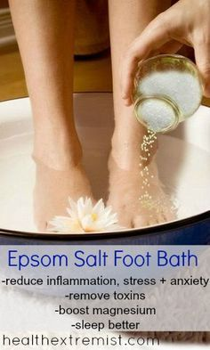 Epsom Salt Foot Soak - this is wonderful for my painful feet, and a good way of absorbing some extra magnesium. I add a couple of drops each of lavender and ginger essential oils.