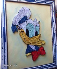 Картина панно рисунок Квиллинг Дональд  Бумажные полосы Трубочки бумажные фото 1