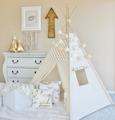 WHITE with Gold Glamour Polka Dot with Canvas Play Tent Teepee Playhouse with Roll Up Flap Window Kids Tents, Teepee Kids, Teepees, Girl Room, Girls Bedroom, Baby Room, Canvas Teepee, Teepee Play Tent, My New Room