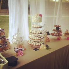 I love a dessert buffet for any reception. The multiple choices make dessert an experience!  Cobbler jars, pecan tarts, mini cupcakes, tiny wedding cake