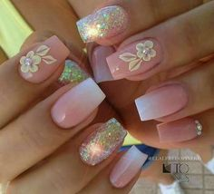 Elegant Rhinestones Coffin Nails Designs - New Ideas Gorgeous Nails, Love Nails, Pink Nails, Glitter Nails, Pretty Nails, Gel Nails, Nail Polishes, Matte Nails, 3d Nail Designs