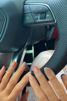 Kylie Jenner's Rainbow French Manicure Is the Next Mani We're Re-creating Ongles Kylie Jenner, Kylie Jenner Nails, Summer Acrylic Nails, Best Acrylic Nails, Summer Nail Polish, Square Acrylic Nails, Square Nails, Gel Polish, Minimalist Nails