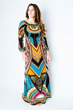 3/4 Sleeve Printed Maxi Dress - fab'rik - Women's Designer Clothing
