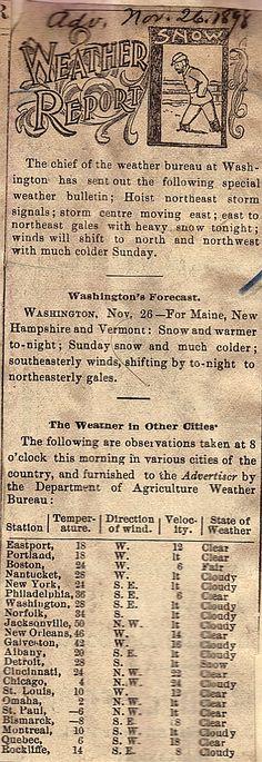 Portland Harbor Museo   Noticias-26 DE DE NOVIEMBRE DE, 1898   12:00 PM  La Oficina Meteorológica lanza su pronóstico para el día.