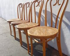 Set of 4 Classic Bentwood  Ice Cream  Parlor Chairs Thonet Chair Dining Chair Wood Cane Vintage Seating Mid Century Modern Vintage Furniture $349.000 & 4 Late 1800u0027s Antique THONET Style Bentwood Ice Cream Parlor Chairs ...