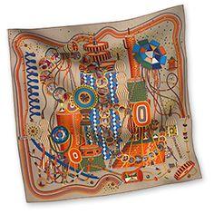 "Le Laboratoire du Temps - Beige  Silk twill scarf, hand rolled, 36"" x 36"""