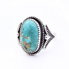 Royston Turquoise Stamped Ring : Size 8