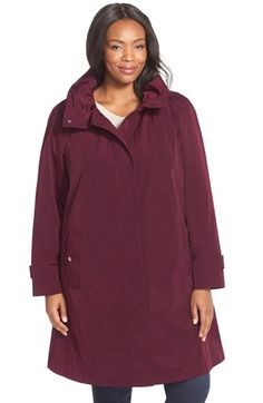 Gallery Ruched Collar A-Line Raincoat with Removable Liner (Plus Size) available at #Nordstrom