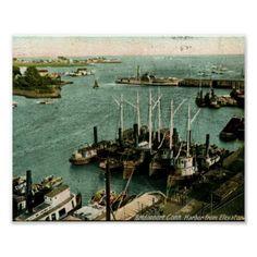 1909 Harbor, Bridgeport, Connecticut Vintage Print