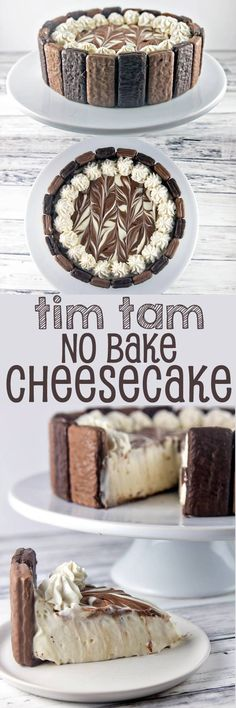 Tim Tam No Bake Cheesecake: the perfect quick and easy holiday entertaining dessert. Crunchy Tim Tams paired with a light, smooth no bake cheesecake filling, and a pure chocolate crust. Bunsen Burner Bakery christmas make,no bake desserts Desserts Keto, No Bake Desserts, Easy Desserts, Delicious Desserts, Dessert Recipes, Yummy Food, Holiday Desserts, Dessert Ideas, Light Desserts
