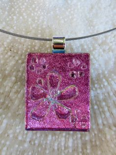 Fused glass dichroic flower necklace