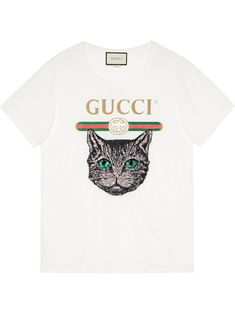 Gucci Gucci logo T-shirt with Mystic Cat