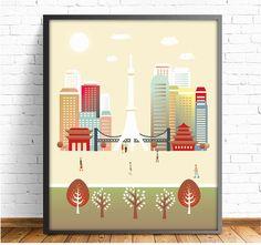 Tokio, Japon, Kanto, ciudades, láminas ciudades, laminas decorativas, cuadros,decoracion pared, lamina Tokio,4 TAMAÑOS INCLUIDOS