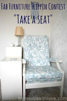 Re-upholstered Chair makeover using Minted Fabric - Take a Seat challenge