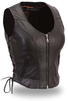 Sexy Leather Vest for Women with Side Lacing