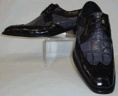 Mens Black & Gray Wingtip Croco Embossed Spectator Dress Shoes Bolano 5916-000 Purple Grey, Black And Grey, Gray, Men Dress, Dress Up, Dress Shoes, Leather And Lace, Cleats, Fashion Shoes