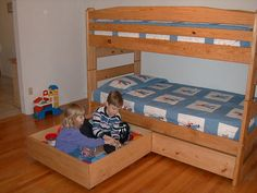 Free plans for these two huge storage drawers sturdy enough for your kids to play in!