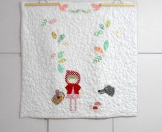 Litlle Red Riding Hood applique baby quilt/Once upon a time baby quilt/playmat/Fairy tale quilt/shower gift/Christmas gift/made to order by nenimav on Etsy https://www.etsy.com/listing/210474487/litlle-red-riding-hood-applique-baby
