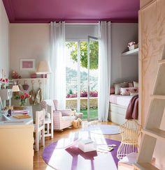 Dormitorio infantil en violeta. Ideas que nos sorprenden