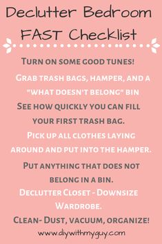 cleaning hacks bedroom How to Declutter Your Room Fast - DIY With My Guy Declutter Bedroom, Clean Bedroom, Declutter Your Home, Cleaning My Room, Cleaning Hacks, Bedroom Cleaning Tips, Room Cleaning Checklist, Deep Cleaning, Cleaning Lists