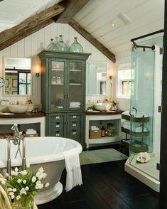 Bathroom - rustic, green From: instagram.com/interiordesignideas