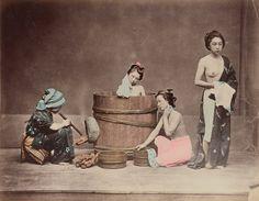 Home Bathing, Baron Raimund von Stillfried, Kusakabe Kimbei, c 1870s -1890s