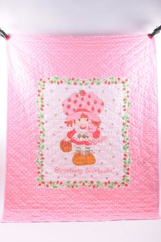 Strawberry Shortcake Quilt Pink Gingham Vintage 1980s   The Pink Room  by ThePinkRoom