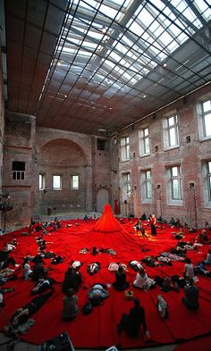 Reddress: Aamu Song's instalation in London's Design Festival (she created the Reddress in 2005, was first shown in Denmark)