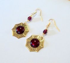 SALE Earrings Brass Fancy Octagons with by TAKUniqueDesigns, $12.00