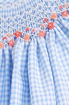 Luli & Me Gingham Plaid Bishop Dress (Baby Girls)-what a sweet example of smocking! Find smocking supplies and fabric at www. Smocking Baby, Smocking Plates, Smocking Patterns, Embroidery Patterns, Embroidery Dress, Hand Embroidery, Smocked Baby Clothes, Smocked Dresses, Punto Smok