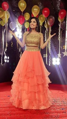 Peach Ruffle Embroidered Attractive Net Semi-Stitched Lehenga Choli - All About Clothes Party Wear Indian Dresses, Indian Wedding Gowns, Indian Gowns Dresses, Wedding Dresses For Girls, Baby Dresses, Bridal Dresses, Choli Designs, Lehenga Designs, Frock Fashion