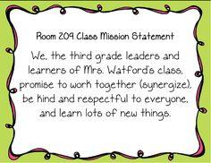 class mission statement third grade - Google Search