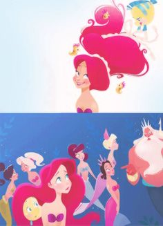 D'aw. I love Flounder doing her hair :)