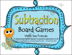 Subtraction Board Games With Sea Friends product from Games-4-Learning on TeachersNotebook.com