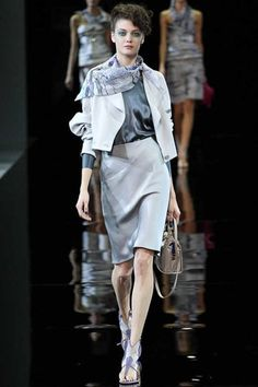 Is that a pencil skirt cut on the bias? Yum!   Giorgio Armani Spring 2014 Ready-to-Wear Collection Slideshow on Style.com