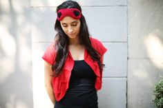 Cashmere sleep travel eye mask red with black hearts by RecycledCashmere on Etsy