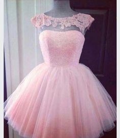 Image of Pink Tulle Cap Sleeves Cocktail Dress With V Back