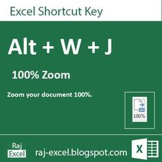 Raj Excel: Microsoft Excel 2013 Short Cut Keys: Alt + WJ (100...
