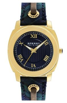 Sperry Top-Sider® 'Summerlin' Laced Leather Strap Watch, 38mm | Nordstrom