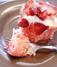 Skinny Strawberry Poke Cake: A lower calories dessert that is great for Spring or Summer!