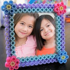 "Frame decorated with Hama pearls not ironed – Perler Bead ""BFF"" Craft Picture Frame for Kids Perler Bead Designs, Beads Pictures, Bff Pictures, Cute Picture Frames, Picture Frame Crafts, Popsicle Crafts, Peler Beads, Melting Beads, Fuse Beads"
