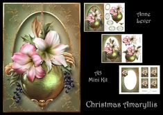 Christmas Amaryllis by Anne Lever This lovely mini kit makes an A5 topper with extra frame decoupage 4 greetings a blank greetings tile four gift tag toppers and a matching insert.