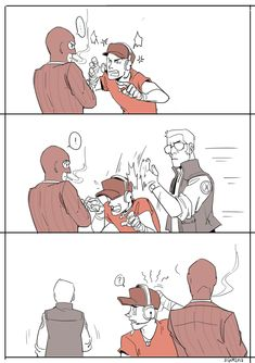 "digitkame: "" A short comic of Sniper stopping an argument. Scout probably won't ever know why Sniper hit him. Tf2 Comics, Tf2 Funny, Tf2 Sniper, Tf2 Scout, Team Fortress 2 Medic, Tf2 Memes, Team Fortess 2, Sketch Poses, Shadow Art"