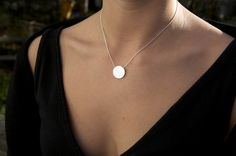 Minimalist Jewelry Silver Necklace Geometric Circle Pendant on Snake Chain on Etsy, $100.50 AUD