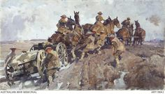 This work shows a team of six horses, three mounted and three led, struggling through thick mud pulling a heavy 18 pounder gun on the limber. Six other soldiers on foot are helping to haul the gun,. Anzac Soldiers, Battle Of Ypres, Royal Horse Artillery, Ww1 Art, World War One, Native Indian, Military Art, Wwi, Cool Artwork