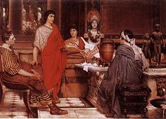 """""""Catullus at Lesbia's"""" by Sir Lawrence Alma-Tadema. Gaius Valerius Catullus (c. 84 – 54 BC) was a poet of the late Roman Republic. His surviving works continue to influence poetry and other forms of art. As young man in Rome Catullus fell deeply in love with the """"Lesbia"""" of his poems, who is usually identified with Clodia Metelli, a sophisticated woman from the aristocratic house of patrician family Claudii Pulchri and wife to proconsul Quintus Caecilius Metellus Celer."""