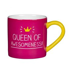 Happy Jackson Queen Of Awesomeness Mug (40 AED) ❤ liked on Polyvore featuring home, kitchen & dining, drinkware, pink mug and flamingo mug