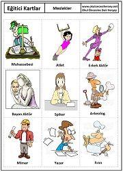 Okul öncesi Meslekler eğitici kartları Turkish Lessons, Learn Turkish, Turkish Language, Montessori, Primary School, Kids Learning, Education, Books, Languages